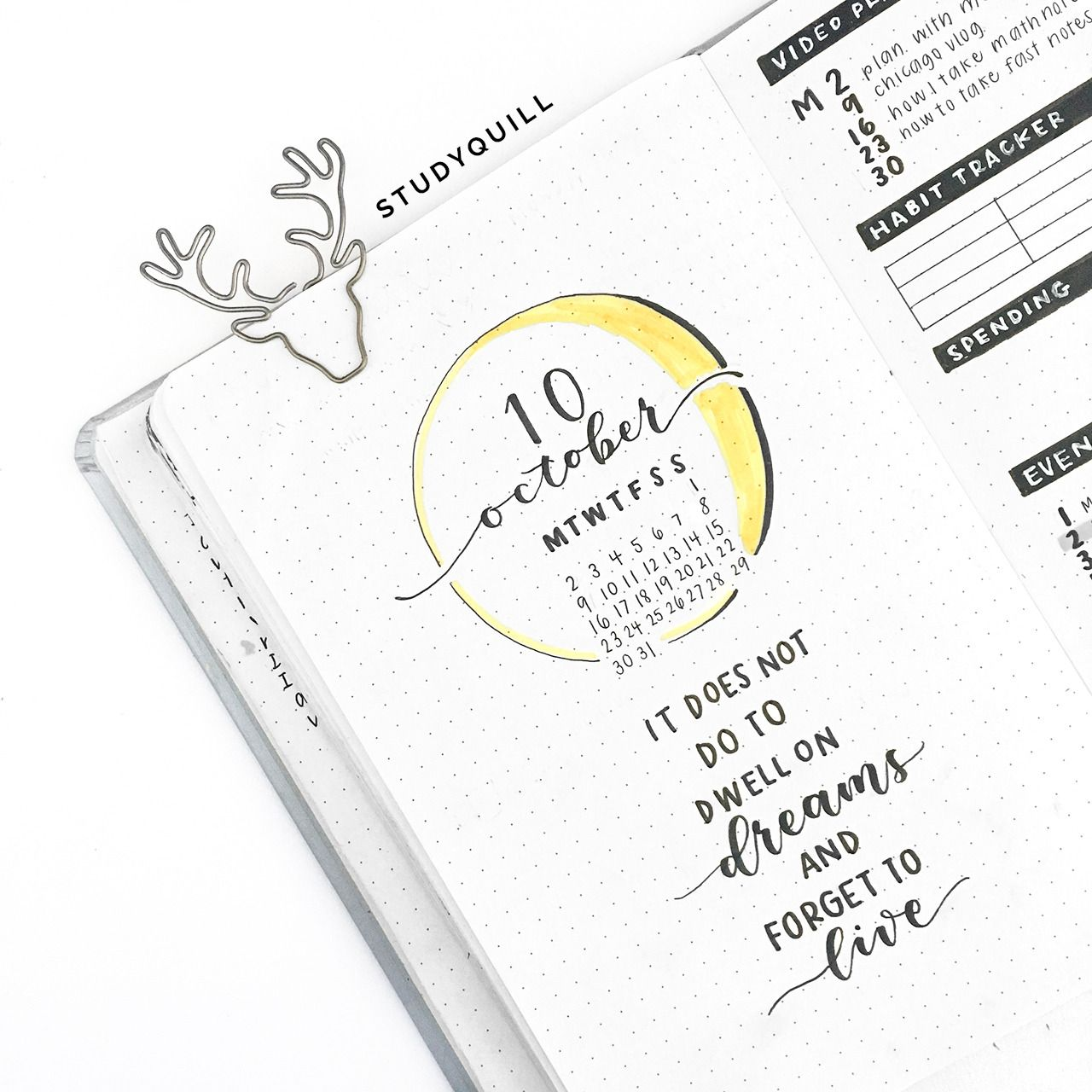 "studyquill: ""october bullet journal set-up! watch my plan with me video here """