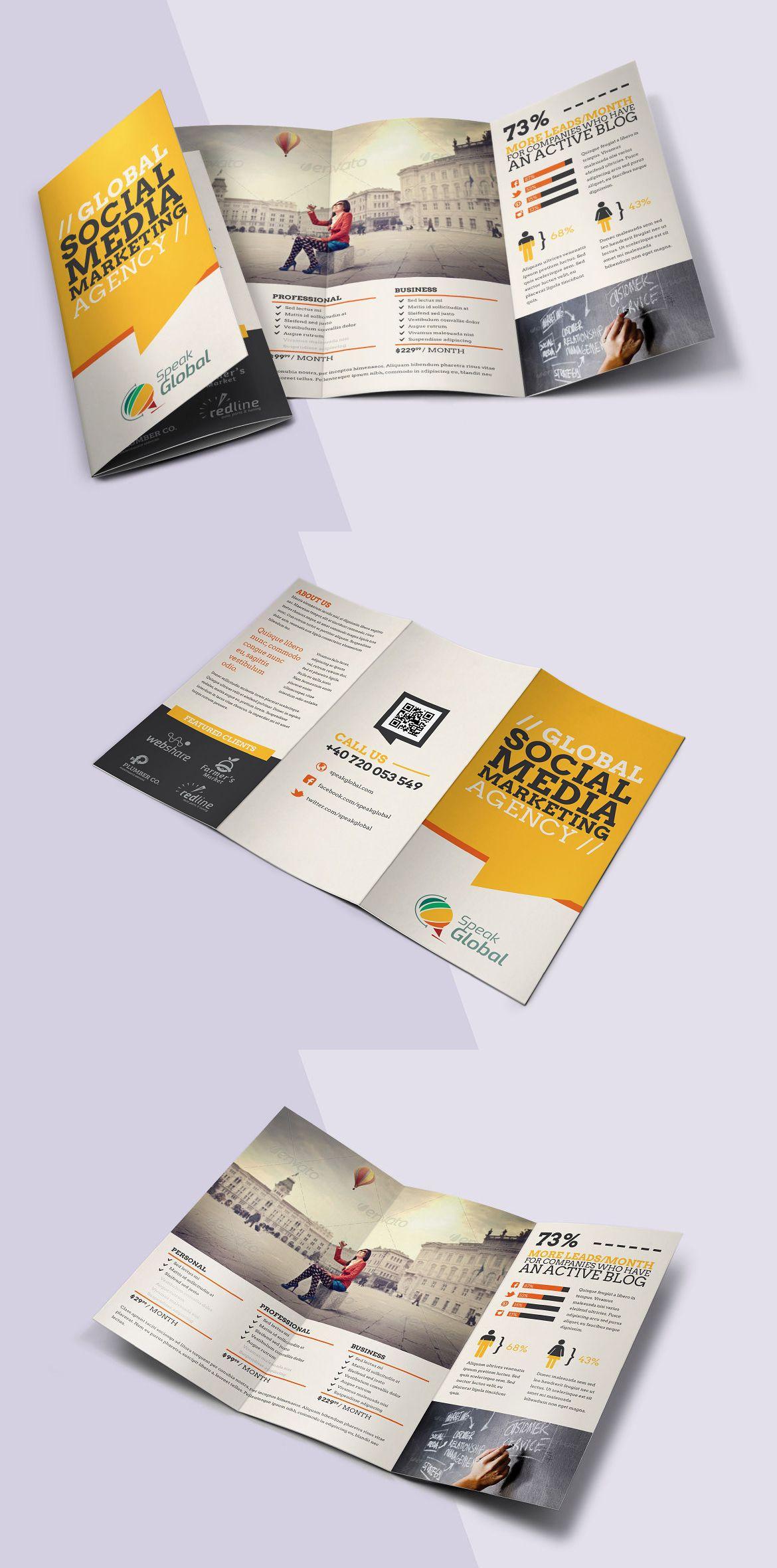 social media tri fold brochure template psd brochure design