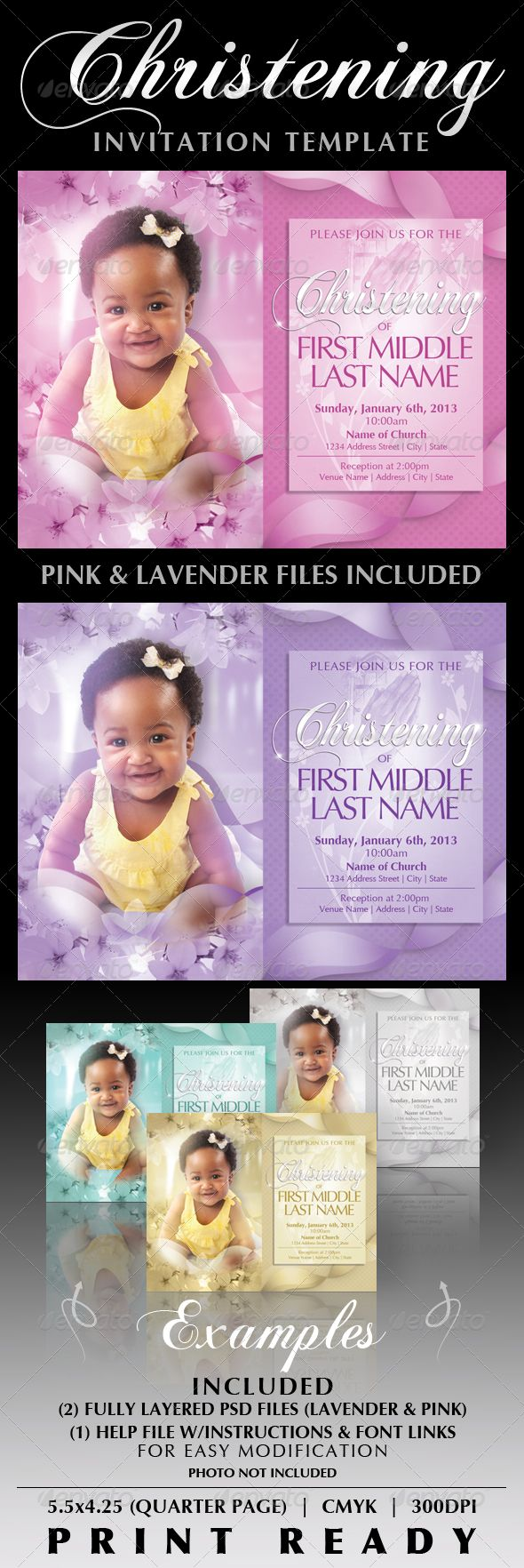 Baby Christening Invitation Templates Baby showers