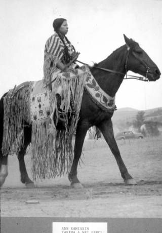 Nez Perce woman named Ann Kamiakin George on horseback, Washington :: American Indians of the Pacific Northwest -- Image Portion #nativeamericanindians