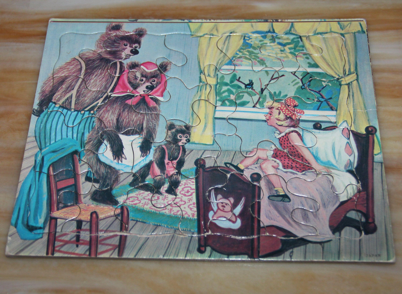 Vintage Goldilocks And The Three Bears Framed Tray Puzzle Etsy In 2020 Goldilocks And The Three Bears Frame Tray Sniff Sticker