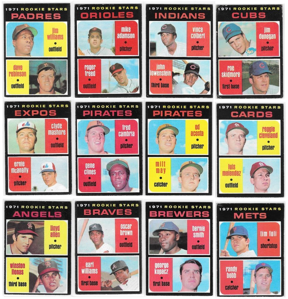 1971 topps baseball cards rookie stars lot 2 12 cards