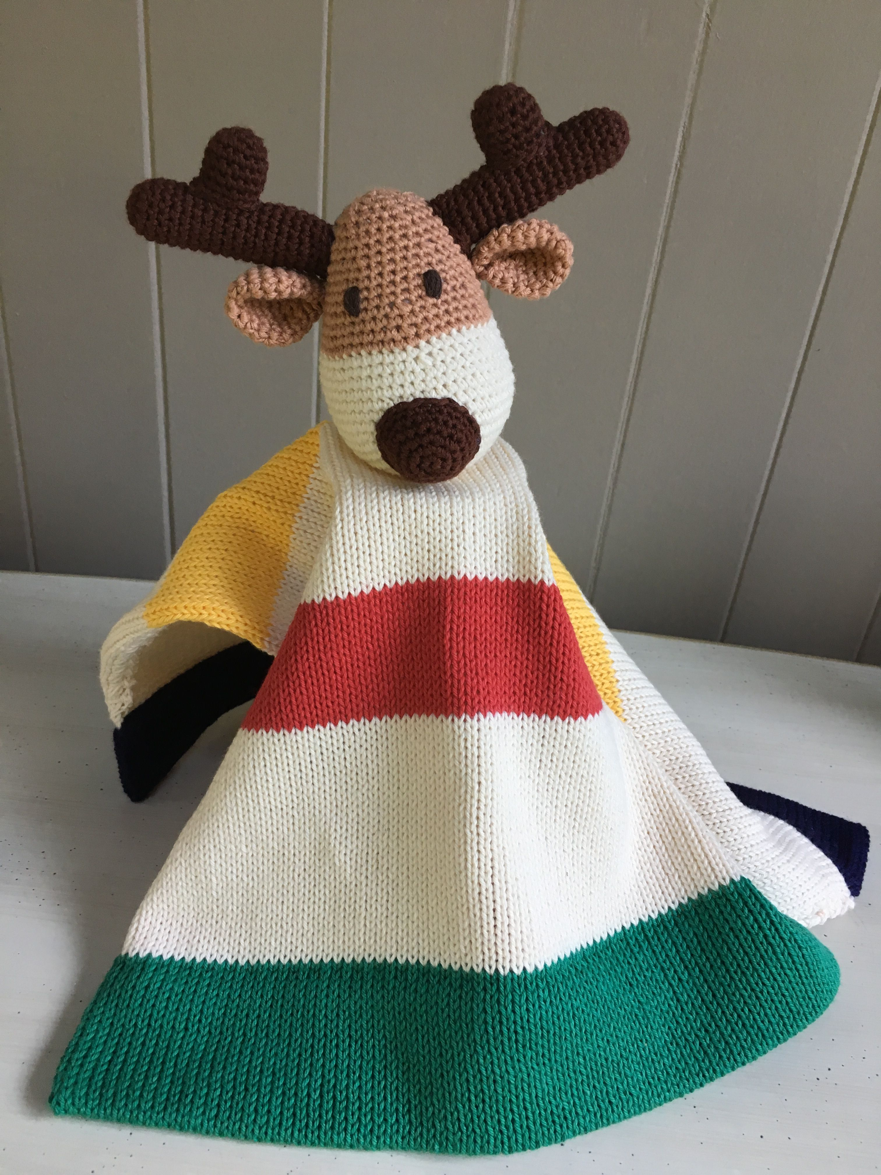 Canadian reindeer cotton lovey blanket 30 www