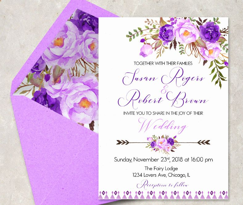 Purple Wedding Invitation Template Best Of 16 Purple Invitation Template Purple Wedding Invitations Mail Wedding Invitations Blank Wedding Invitation Templates