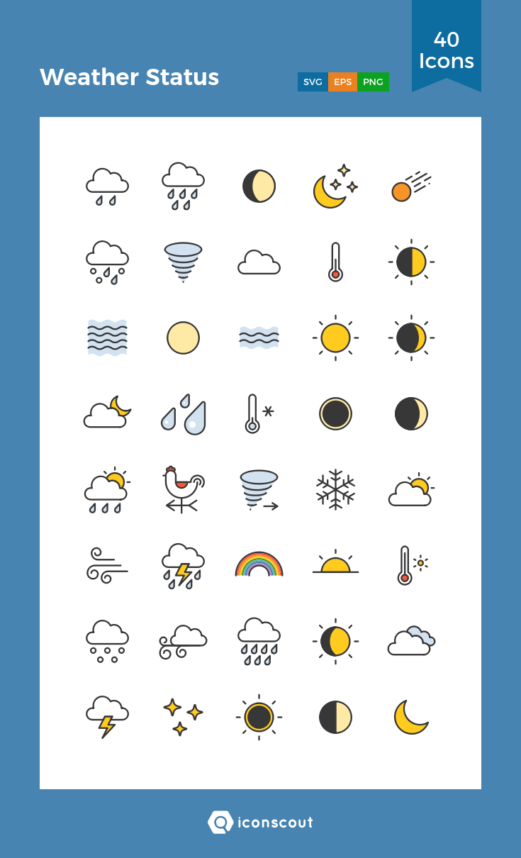 ec3464f40 Weather Status Icon Pack - 40 Filled Outline Icons | Seasons | Icon ...