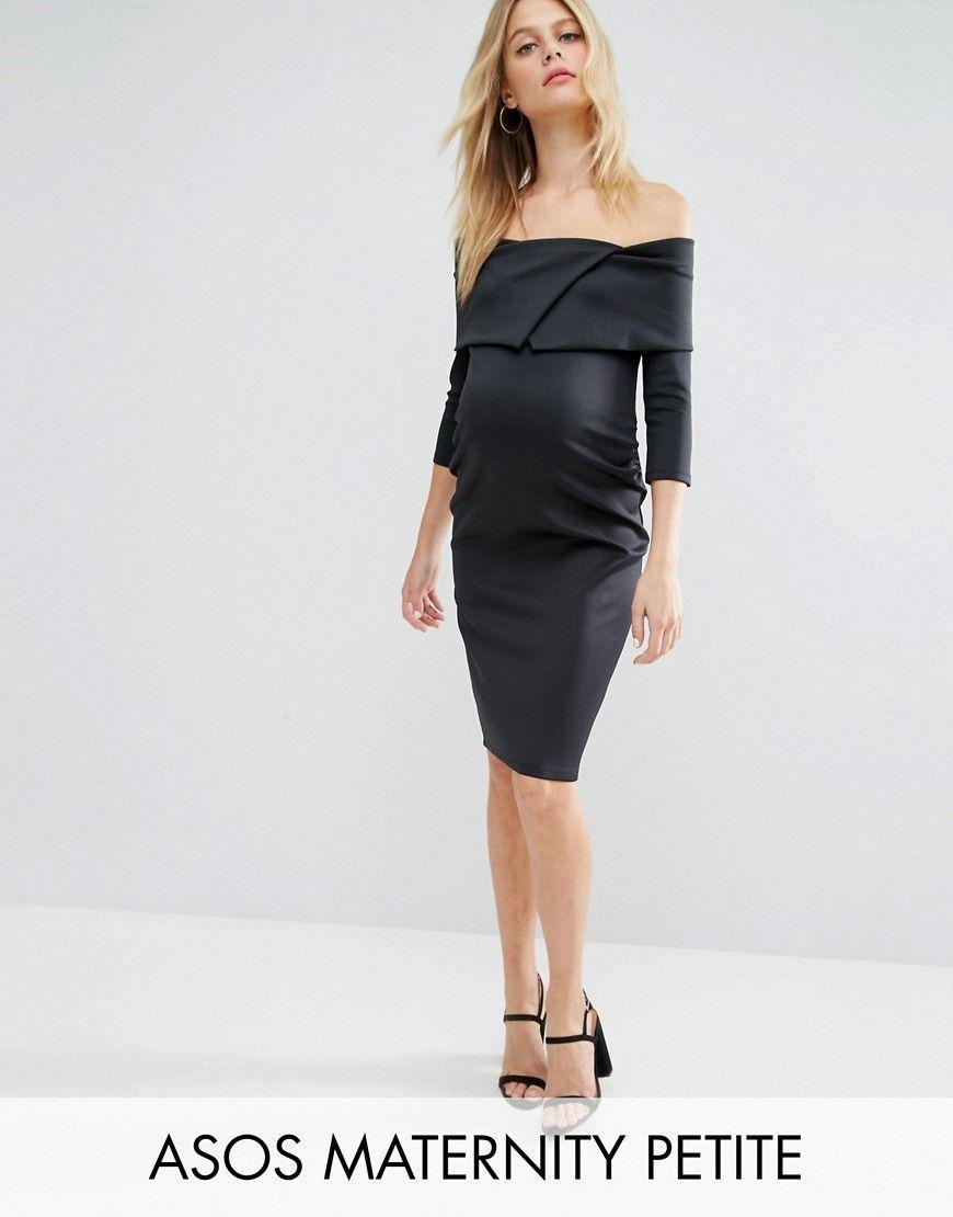 Vestido de neopreno con escote bardot con pliegues estilo origami de