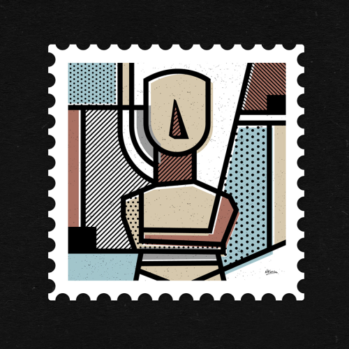 Part of an abstract stamp series with a Greek theme