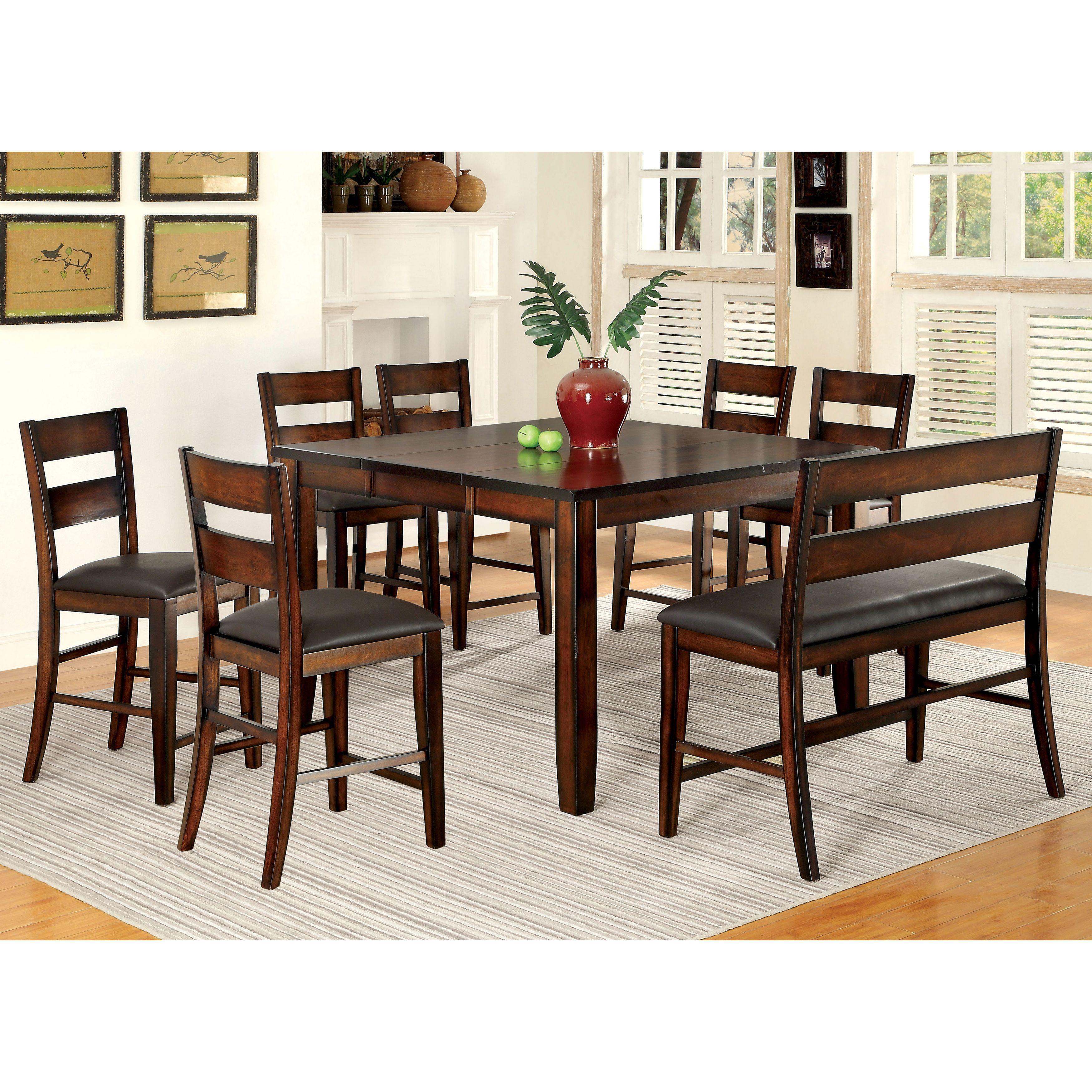 Furniture Of America Katrine Dark Cherry 8 Piece Counter Height Dining Set