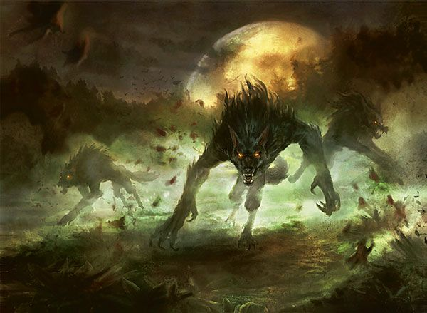 This probably has something to do with him turning in to a werewolf, the scary part is that it's an arrow like shape next to it, are they really double sided art card? Description from nurgleprobe.wordpress.com. I searched for this on bing.com/images