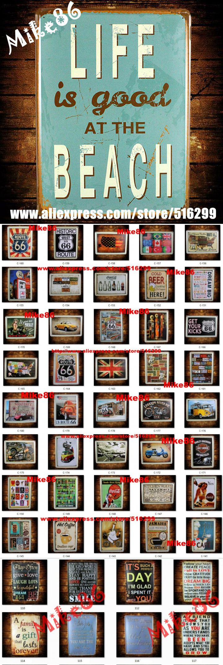 [ Mike86 ] LIFE is good at the Beach Painting Art Home Retro Tin Sign Pub Decor 30*40 CM C-231 $27