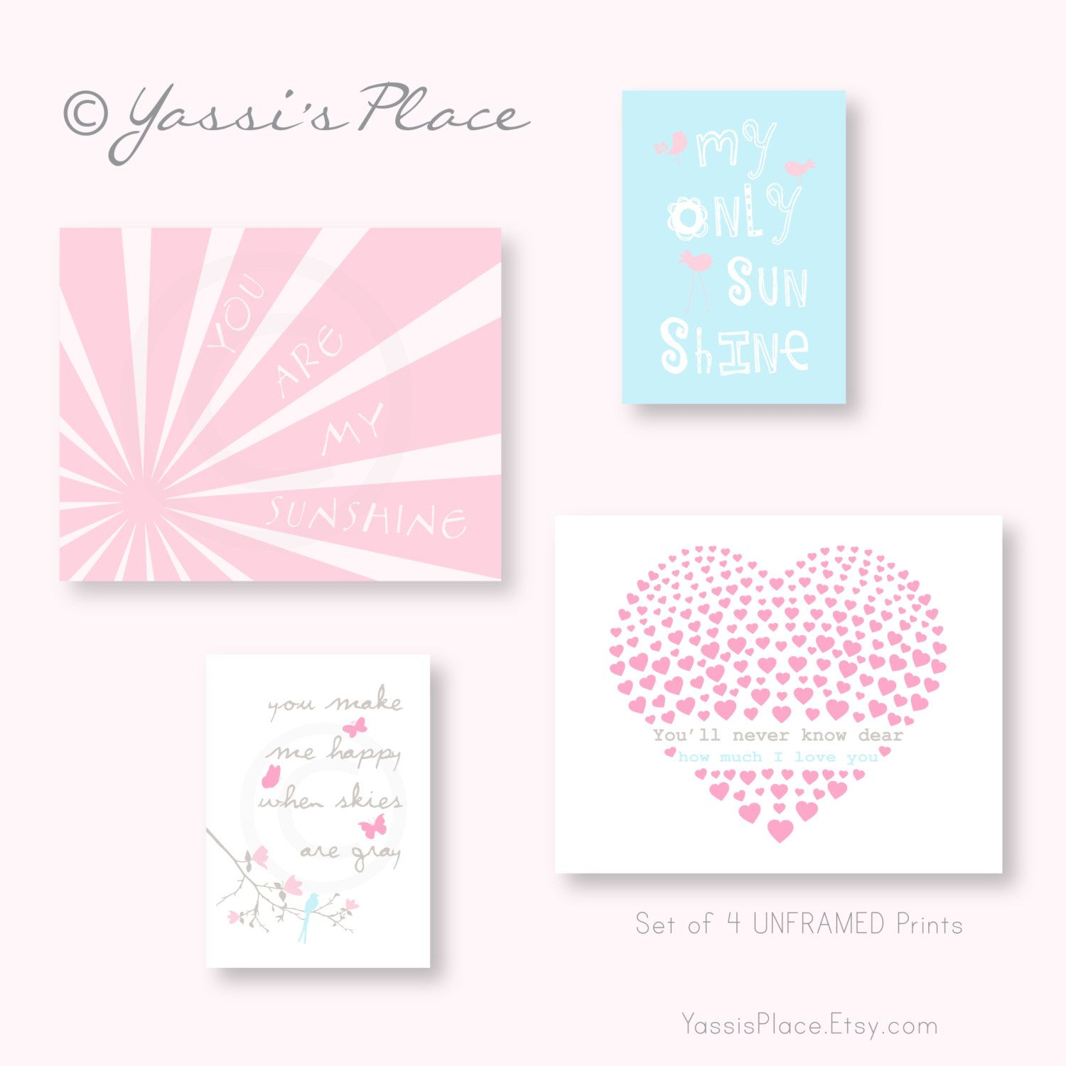 Pink and blue baby girl nursery decor you are my sunshine set of