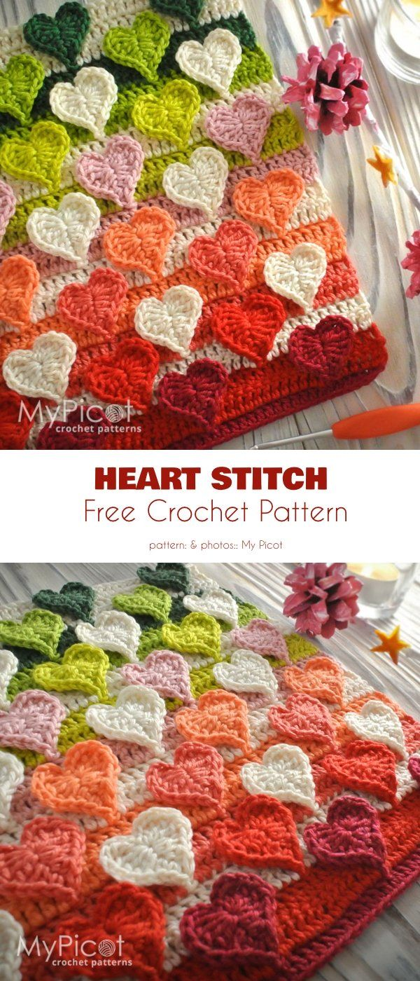 Multicolored Hearts Stitch Free Crochet Pattern #pattern