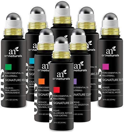 ArtNaturals Essential Oils Rollerball Blends - (8 x .33 Fl Oz / 10ml Roller Bottles) - Aromatherapy Roll On Pre-Diluted Gift Set - Jojoba Oil Peppermint, Lavender Eucalyptus and More - Sleep, Stress Review #jojobaoil