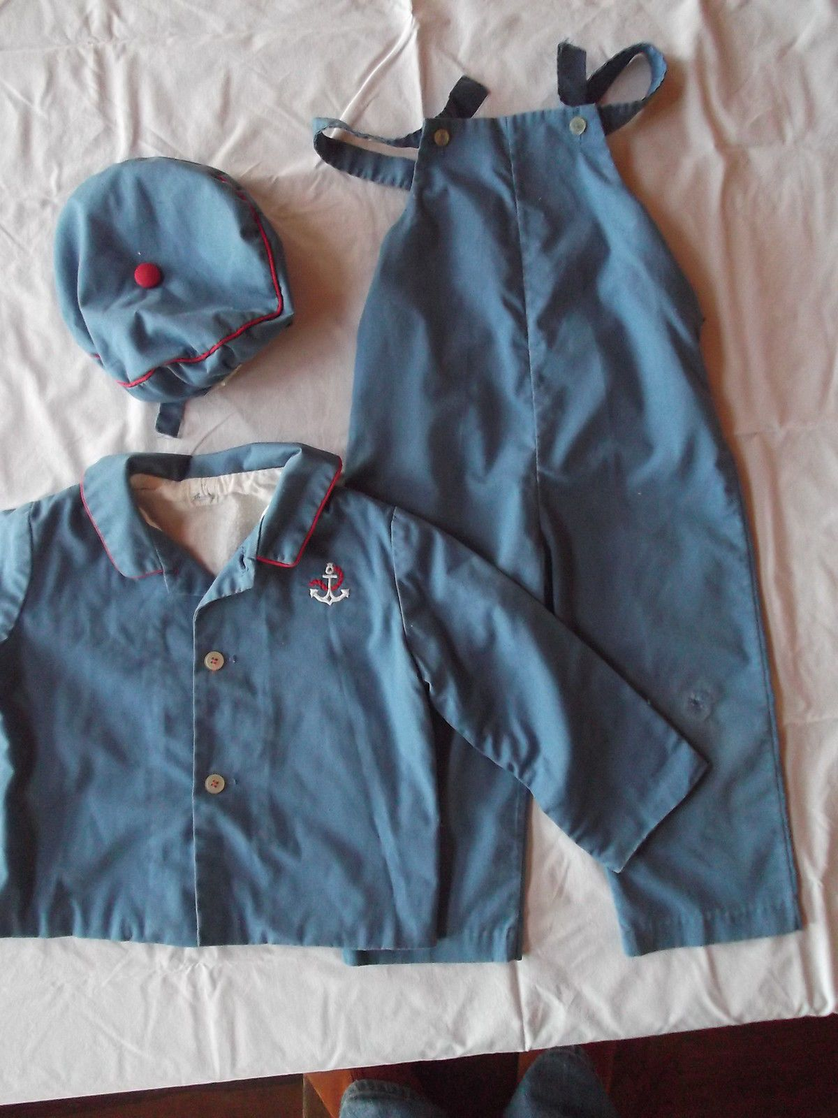 Vintage Baby Doll Boy Outfit 3 PC Set Jacket Overalls Hat Blue Sailor Nautical | eBay