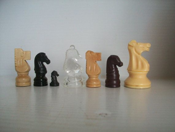 instant collection of 7 different chess horse game pieces chess