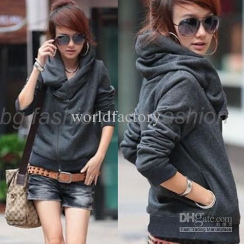 Wholesale New Korea Womens Hoodie Jacket Zip Up Coat Short Sweatshirt Outerwear, Free shipping, $11.99-17.23/Piece | DHgate