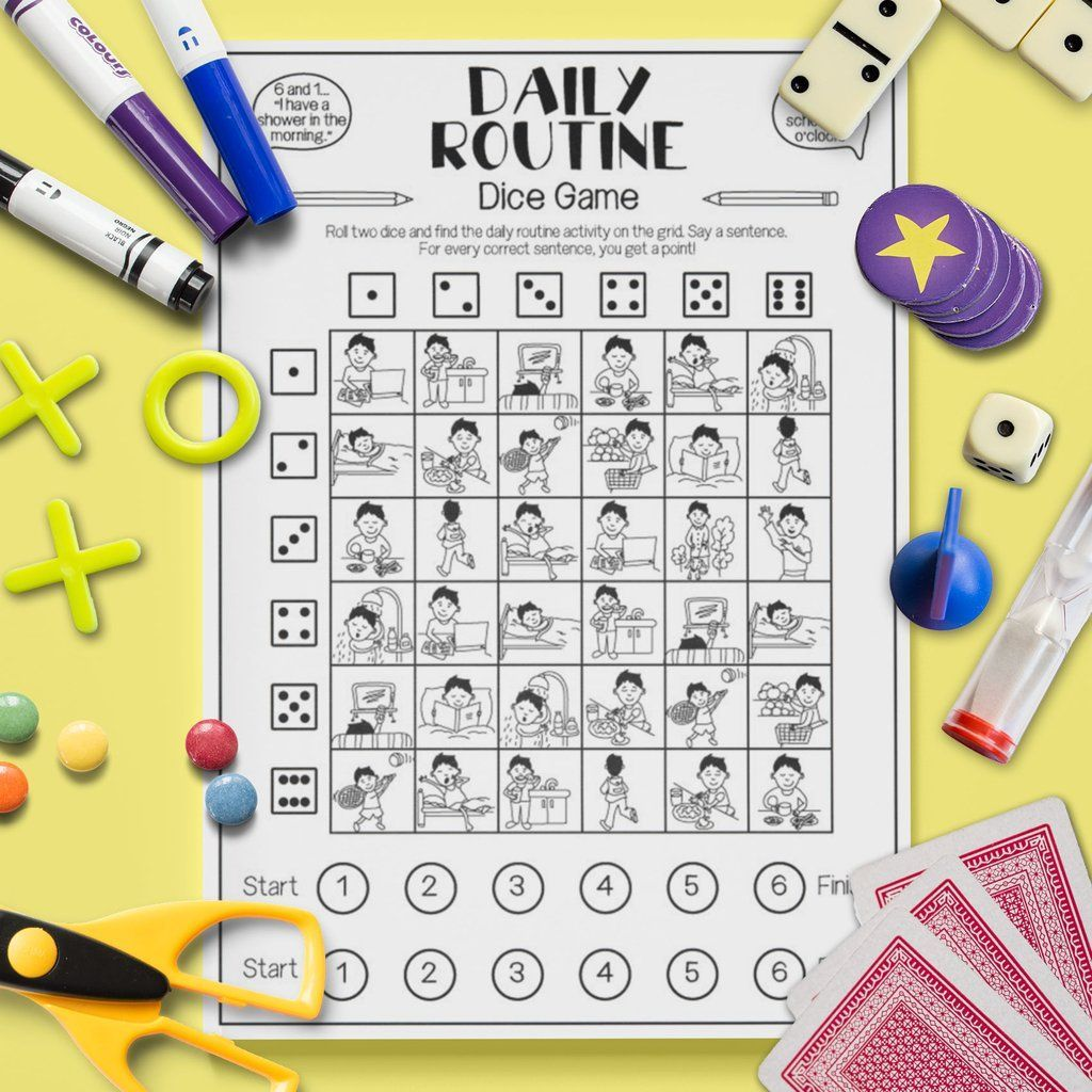 Esl Kids Daily Routine Dice Game Speaking Activity