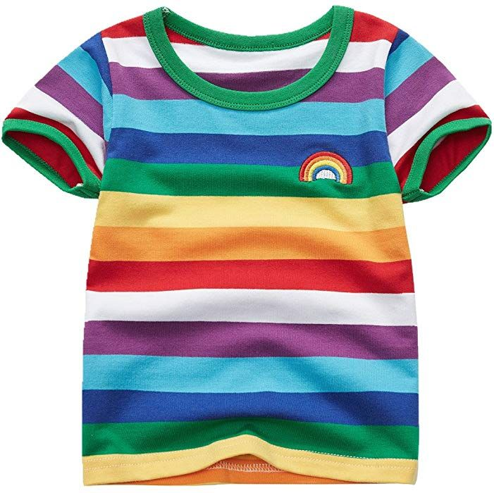 92c0fce5 Amazon.com: Sooxiwood Boys' T-Shirt Short Sleeve Rainbow Striped Size 3T  Rainbow: Clothing