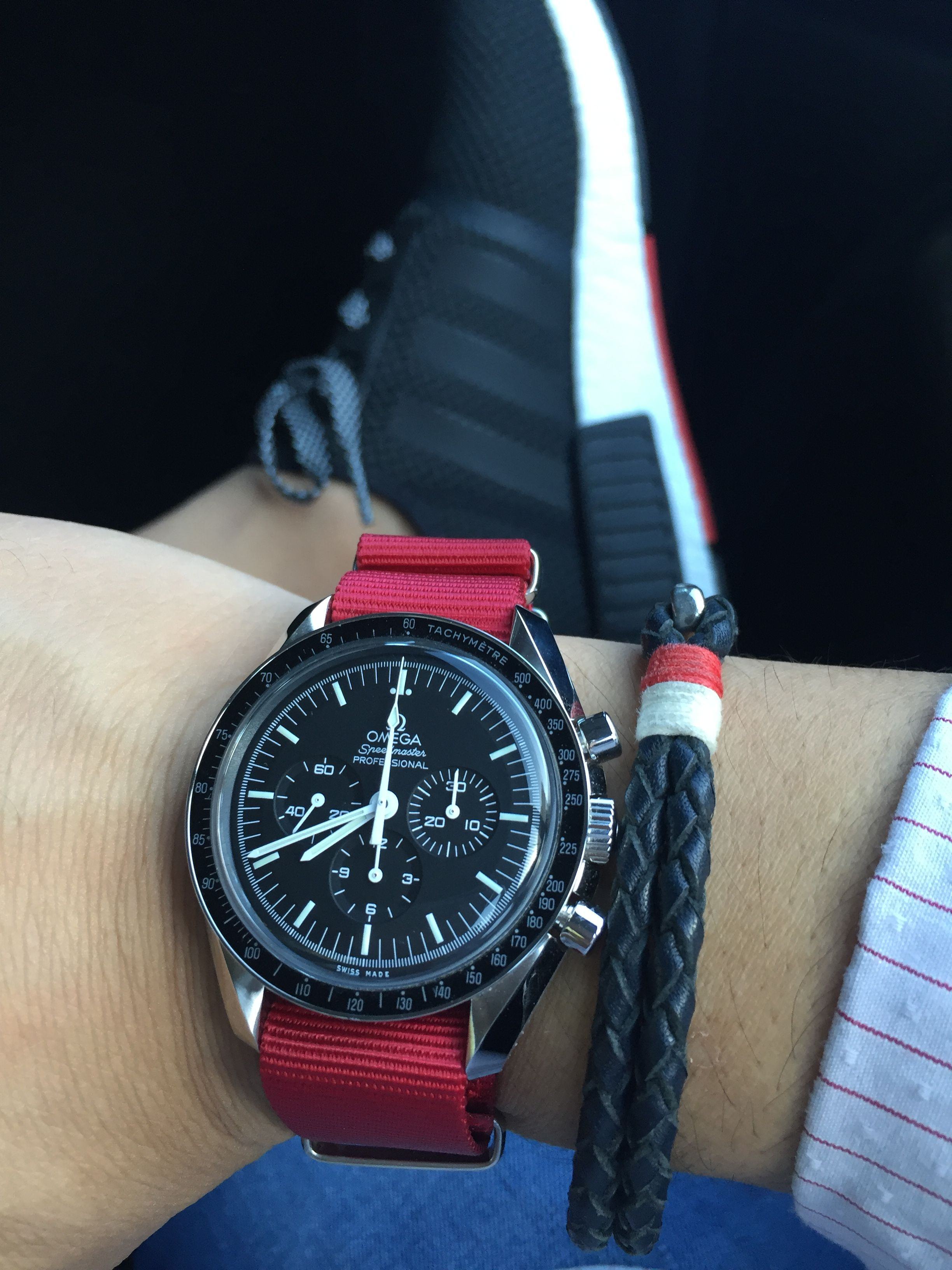 f961f7dd9d7 Omega Moon Watch on a Poinsettia Red Nato strap  omega  speedmaster   adidasnmd