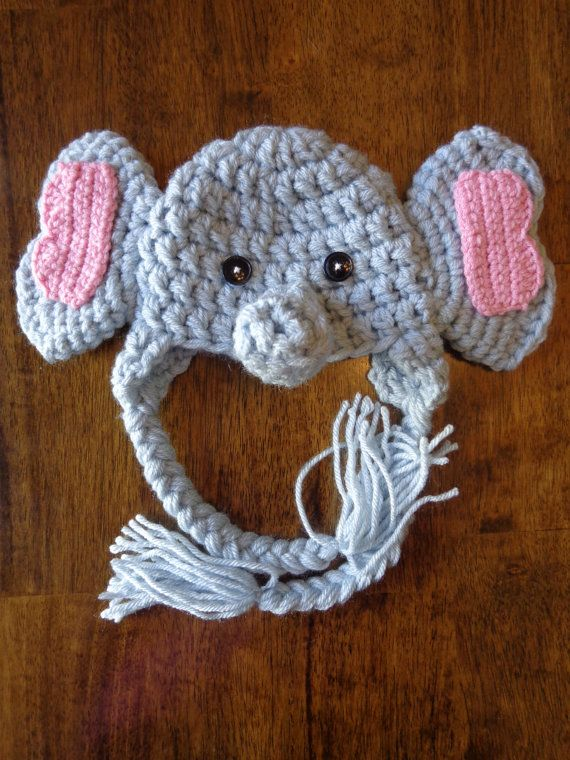 Newborn Crochet Elephant Hat via Etsy | Crochet elephant ...