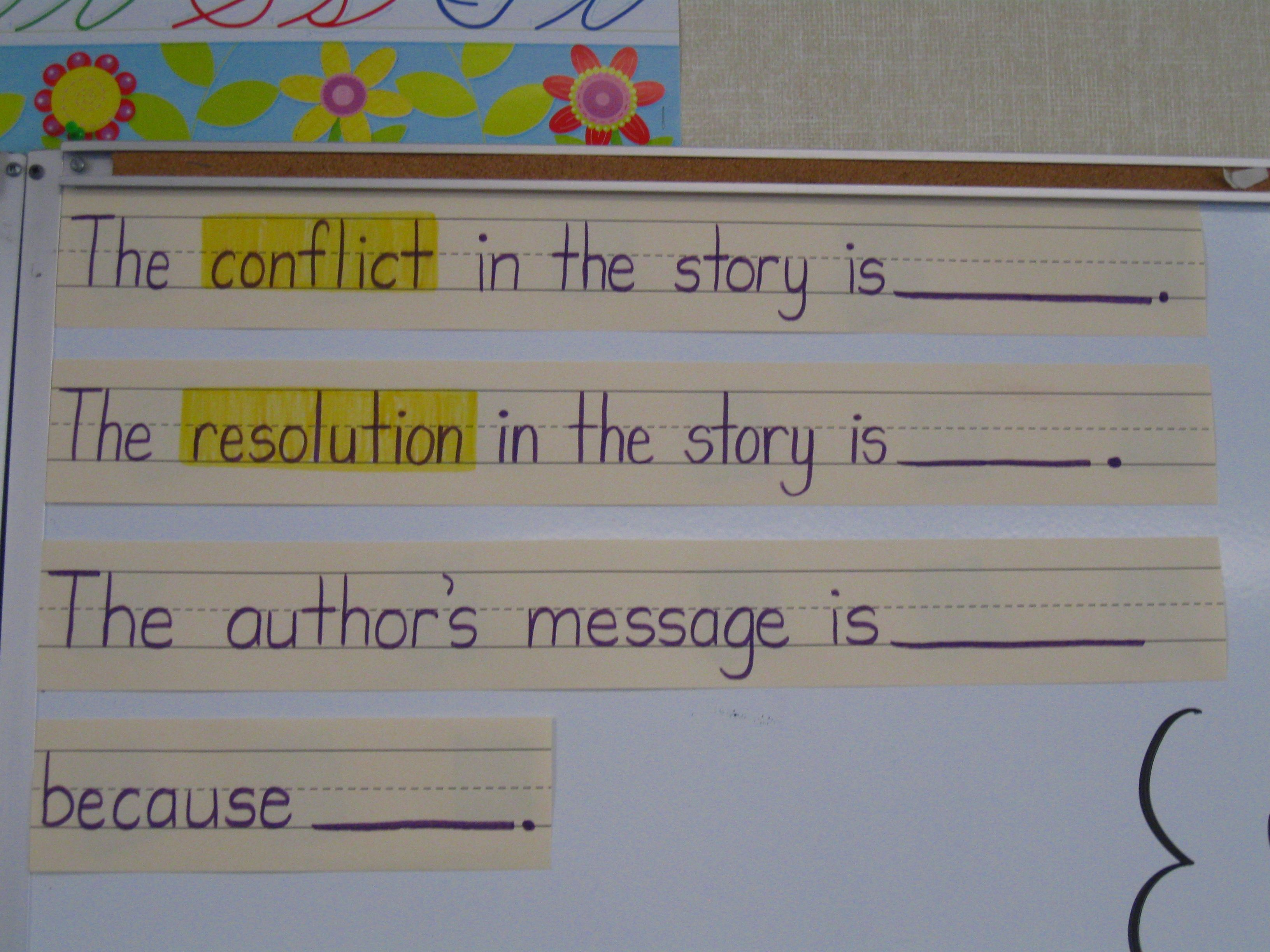 Conflict Resolution And Author S Message Sentence Frames