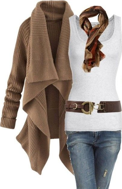 love the long flowing sweater over white tee, belt and scarf ...