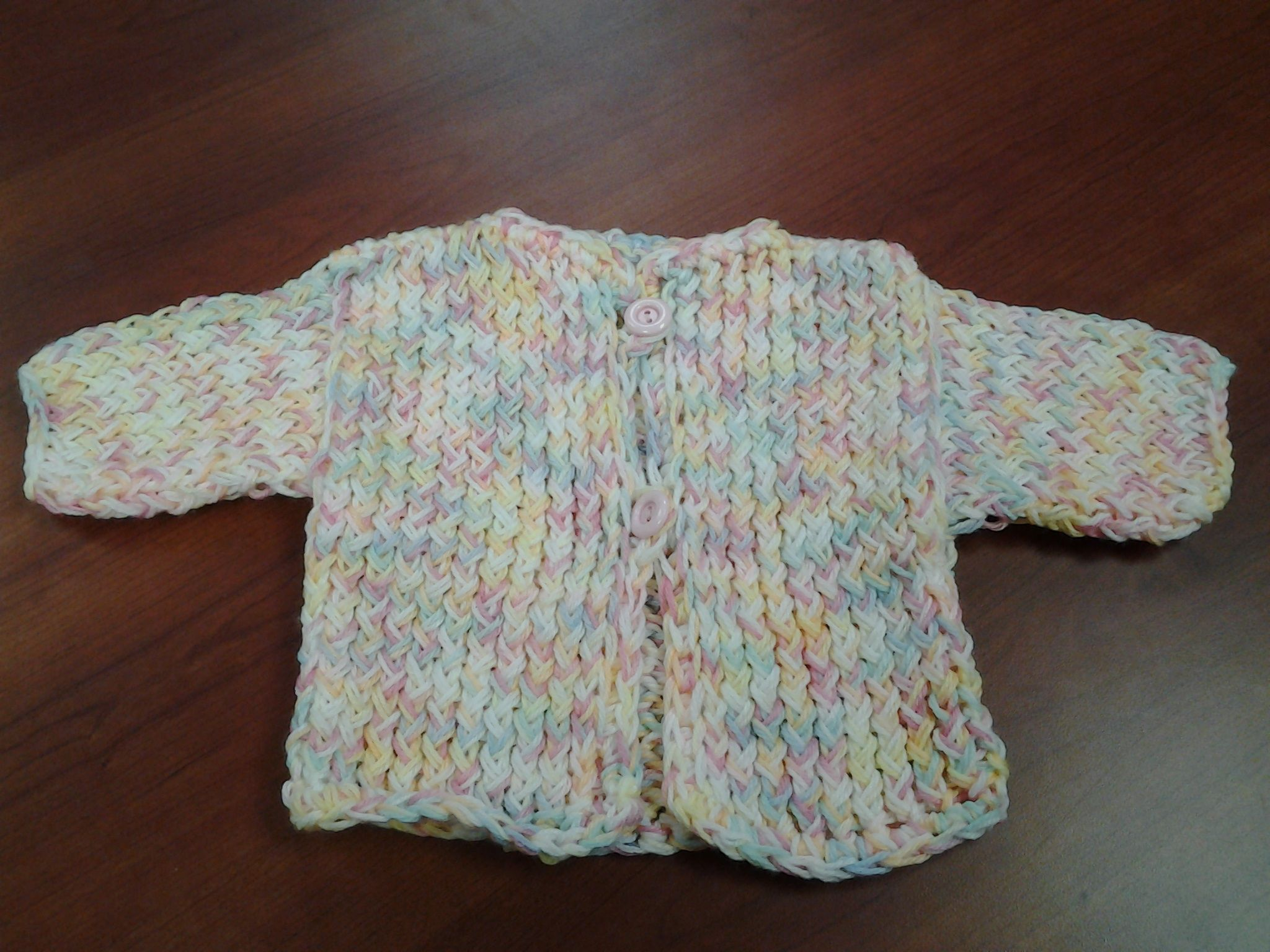 Loom knitting makes this sweater fun and easy!   Knit baby ...