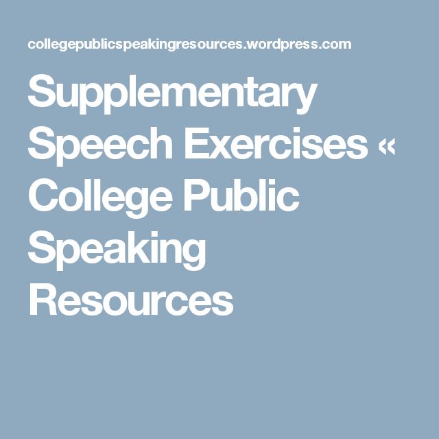 Supplementary Speech Exercises | Public speaking, Public ...