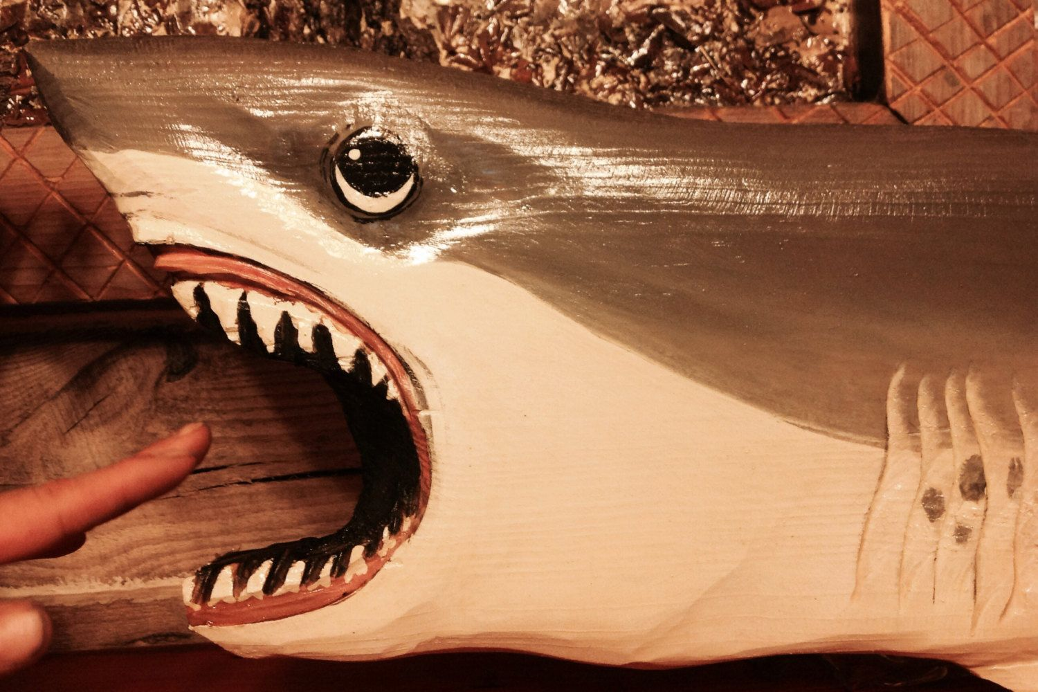 Great White Shark 4ft chainsaw wood carving indoor outdoor art ...