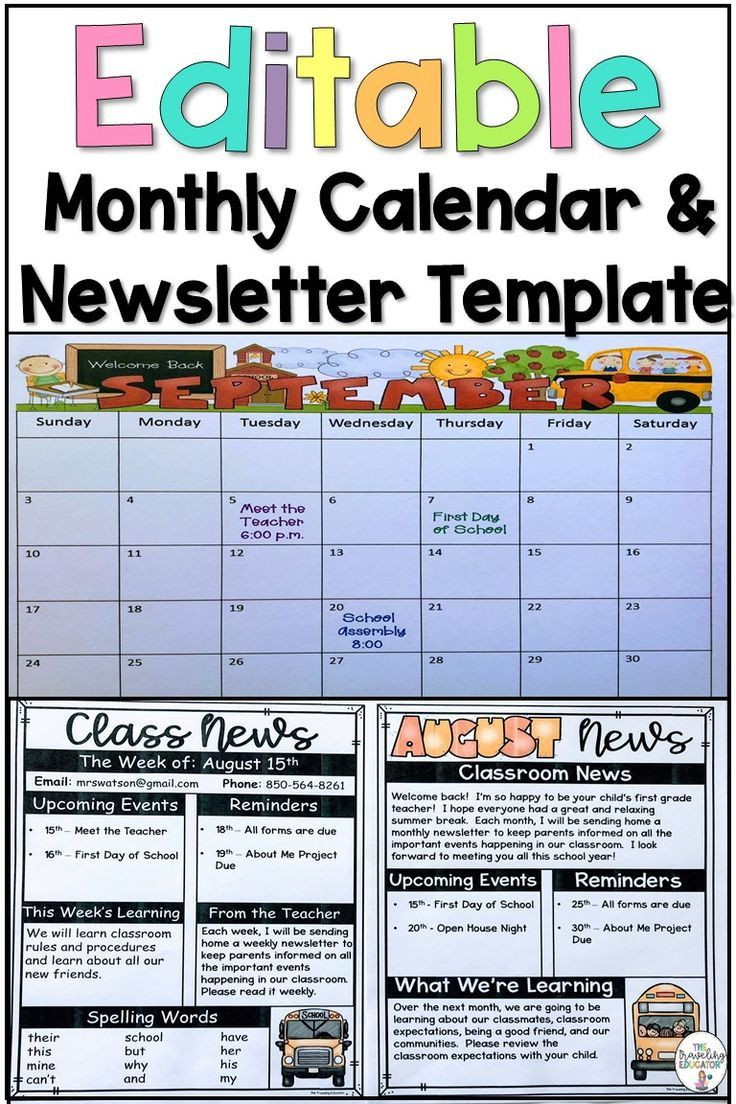 Monthly Calendar and Newsletter Editable Templates Monthly newsletters and calendars make it easier