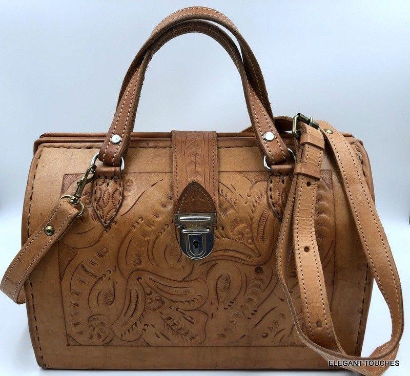 Vintage Force Ten West Hand Tooled Leather Rustic Western Handbag Satchel Purse Forcetenwest Crossbodysatchel
