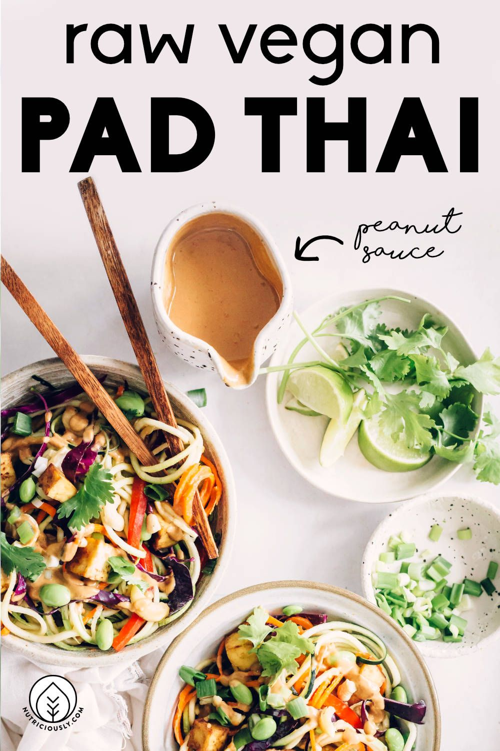 best raw vegan pad thai with zucchini  spicy peanut sauce