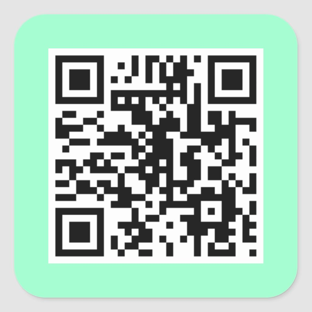 Mint Green Qr Code Sticker Zazzle Com In 2021 Rick Rolled Coding Qr Code