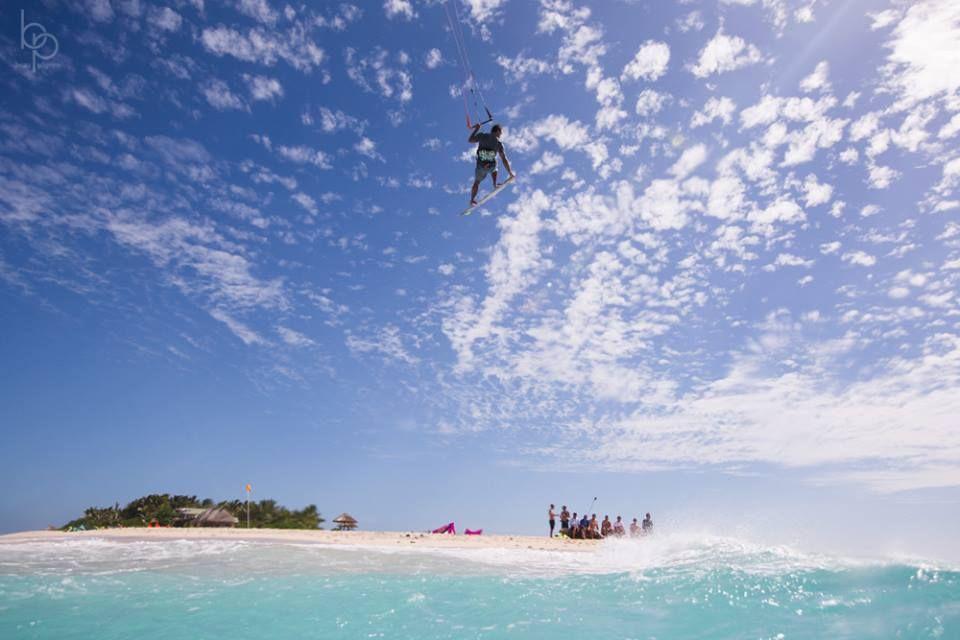 At Namotu Island Resort in Fiji. Kitesurfing