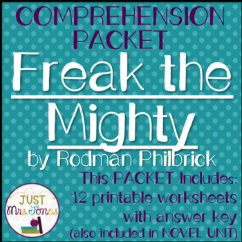 Freak The Mighty Comprehension Packet Freak The Mighty Comprehension Vocabulary Words