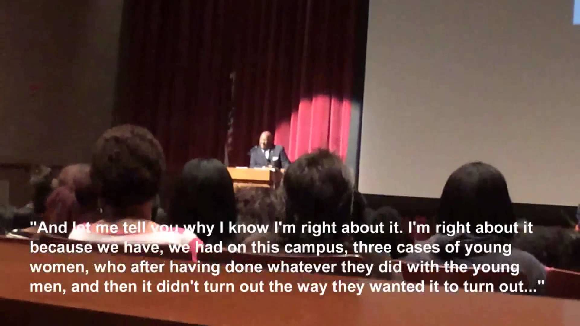 "Lincoln University Pres. Robert R. Jennings tells female students, faculty, and staff that they only get sexually assaulted ""if they allow it to happen."" He also tells them that black men just want to ""use them"" and will only marry ""the girl wearing the long dress down the hall."" This was recorded in Sept. 2014 at a convocation for ""women only."""