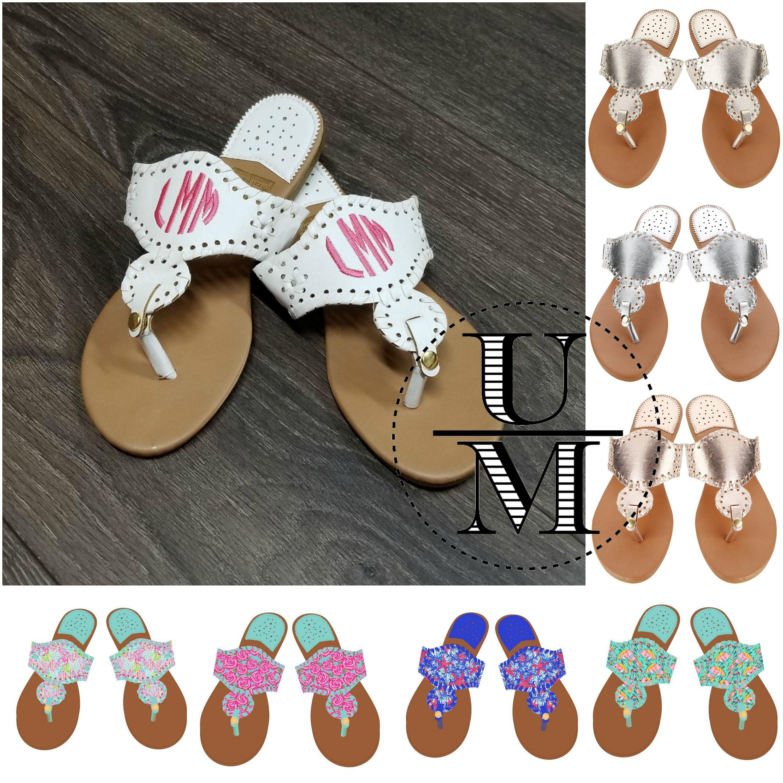 52f41e387c6ac Monogram sandals personalized flip flops women's faux leather beach ...