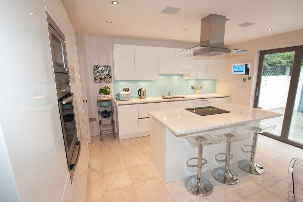 Kitchen Island Extension handleless kitchens from lwk kitchens - polar white handleless