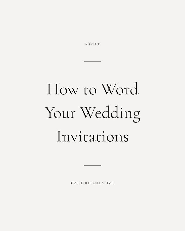WEDDING INVITATION WORDING ETIQUETTE | Wedding invitation etiquette ...