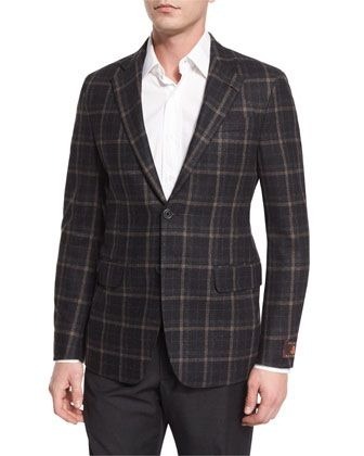 Carmel+Windowpane+Two-Button+Jacket,+Multi+Colors+by+Robert+Talbott+at+Neiman+Marcus.