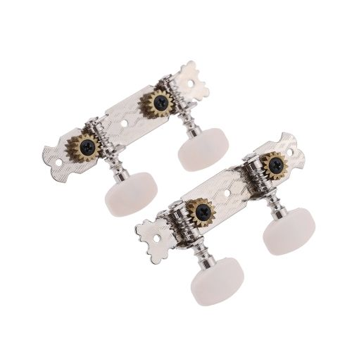 Pair Of Classical Acoustic Guitar Tuning Machine Heads With Screws Cream Head