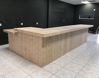 Roy - Rustic sales counter, reception desk with POS/ADA drop,  #Counter #Desk #Drop #industrialofficereceptiondesk #POSADA #Reception #Roy #Rustic #sales