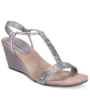 c47adb3c1a Style & Co Mulan 2 Embellished Evening Wedge Sandals, Only at Macy's - Gray  5.5M