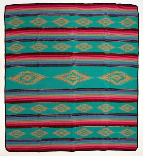 Navajo Print Southwest Design Queen Size Reversible Teal Green//Black