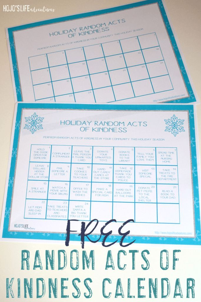Free Random Acts Of Kindness Calendar  Life Lessons Homeschool