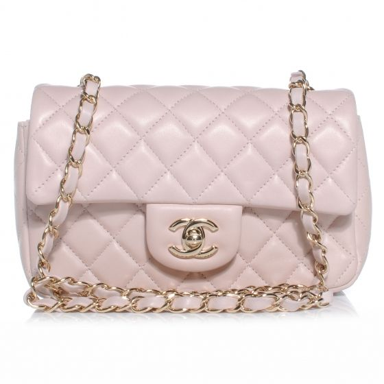 6d3ba4a82d6 Fashionphile - CHANEL Lambskin Quilted New Mini Flap Light Pink