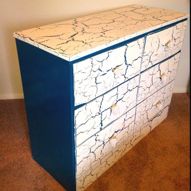 Just Refinished My Old Dresser Used Valspar Weathered Crackle Glaze With Valspar Gypsy Teal And Valspar Betsy S Linen I Also Replaced The O Master Diy F