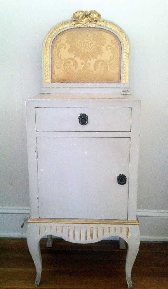 Light Grey Bedside Table: Shabby Italian Painted Neo-Classical Nightstand/bedside