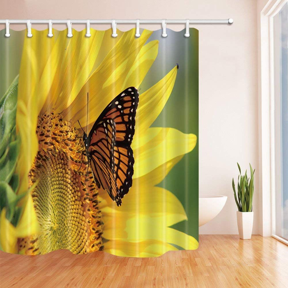 Artjia Butterfly Fly On Sunflower Polyester Fabric Bathroom Shower