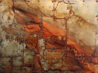 Here S A Picture Of The Rusted Patchwork Of Riveted Steel Effect We Are Going To Recreate Metal Texture Texture Art Faux Rusted Metal